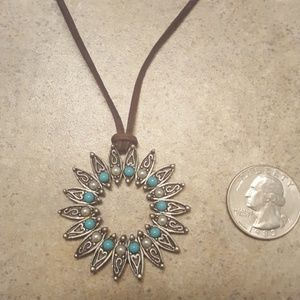 Turquoise and silver Sun necklace